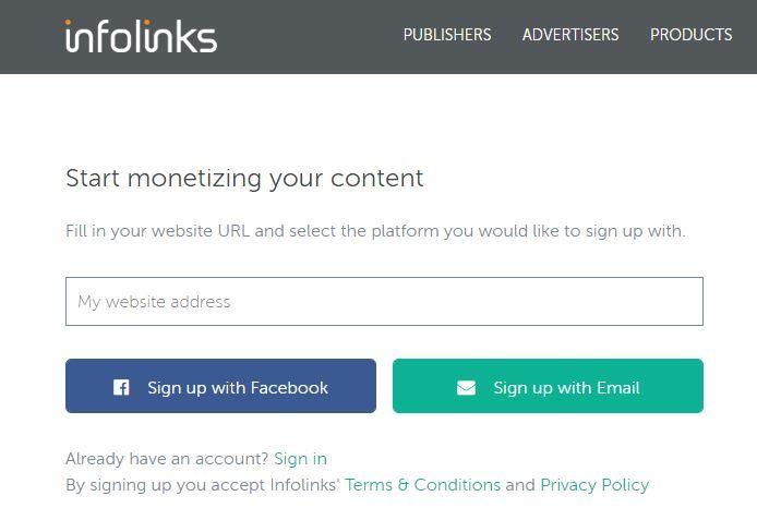 Sign Up Infolinks