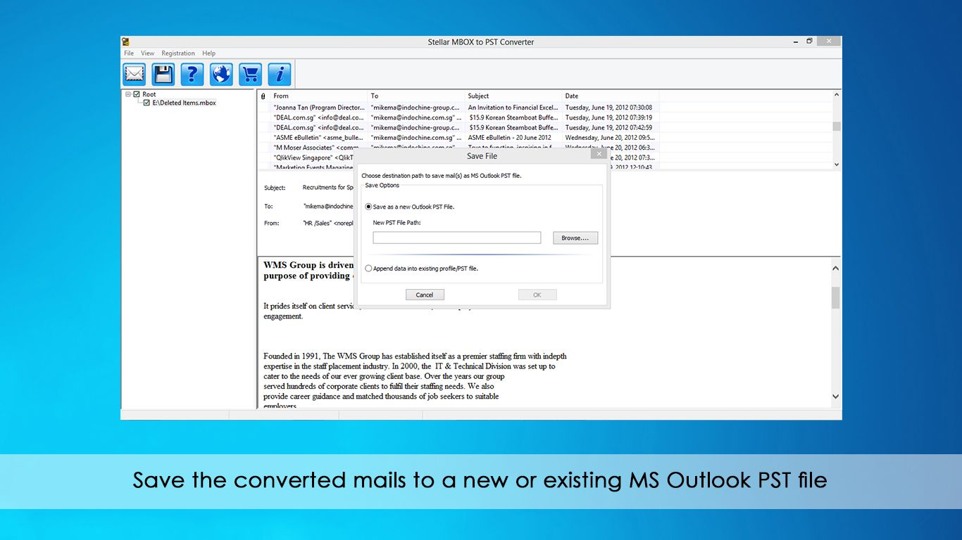 Save the converted email to new or outlook PST