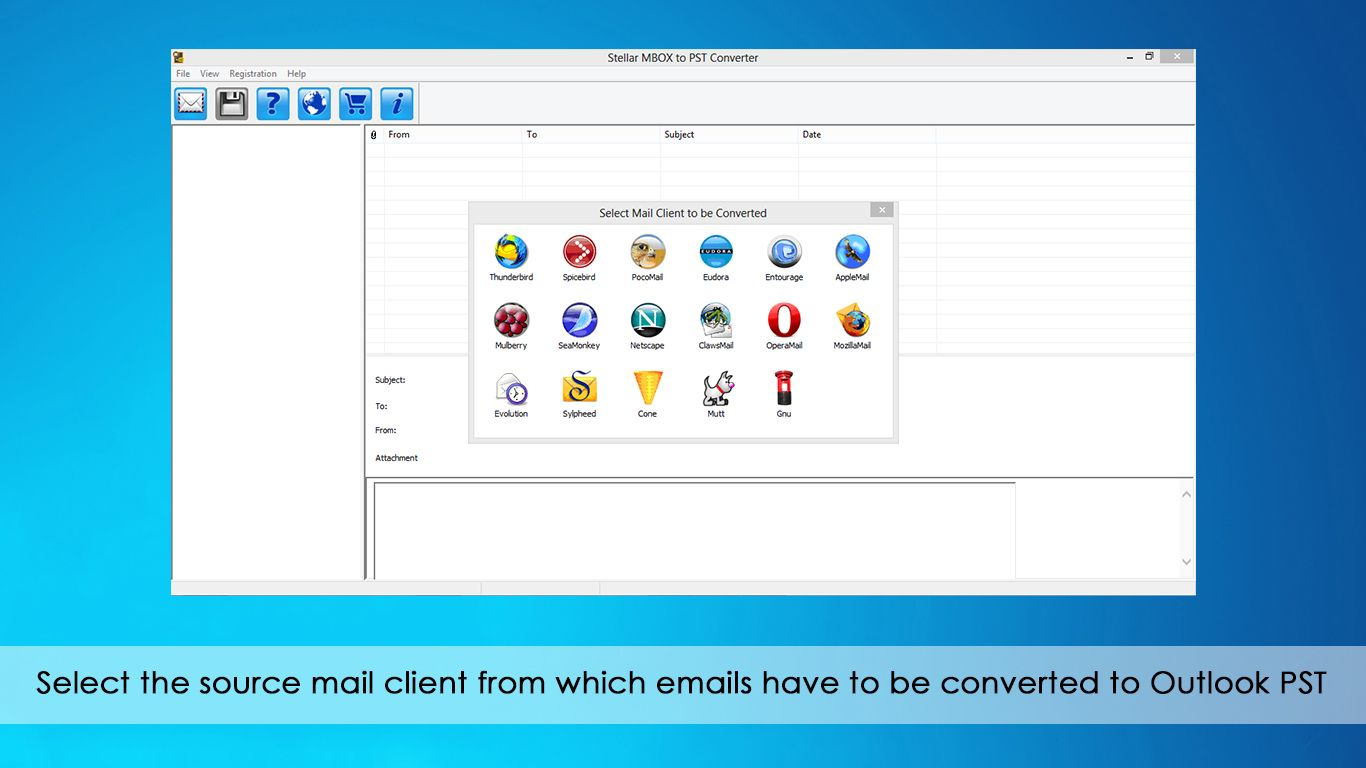 Select the mail client to be converted to Outlook PST