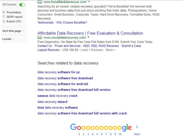 data recovery searches at bottom