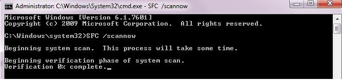 Scan your system using command prompt