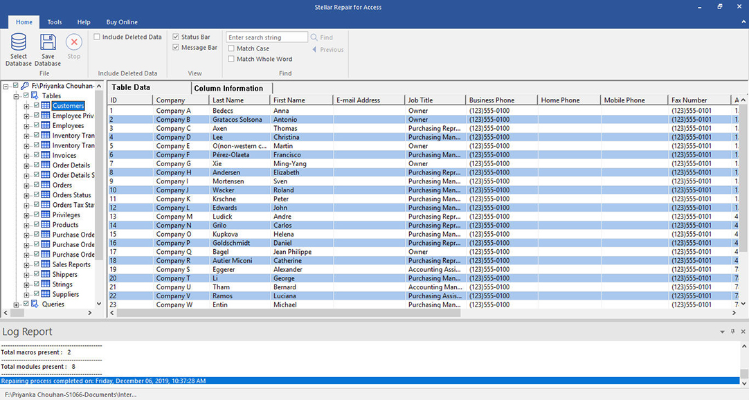 Click Tables, Queries, Reports to check preview