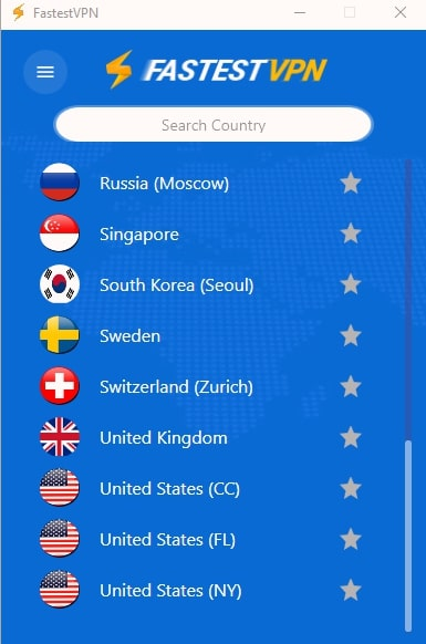 Fastest VPN search country