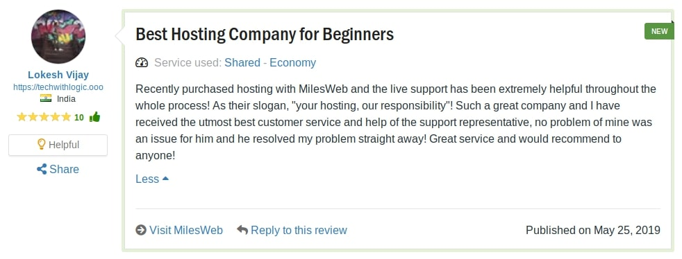Miles Web Reviews