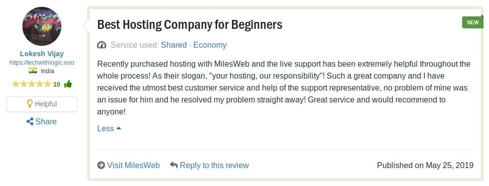 Miles Web Reviews
