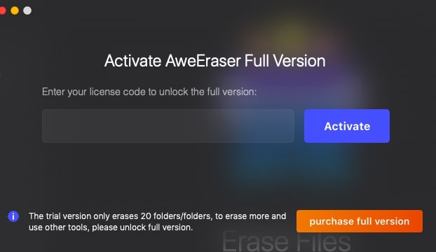 Activate AweEraser full version
