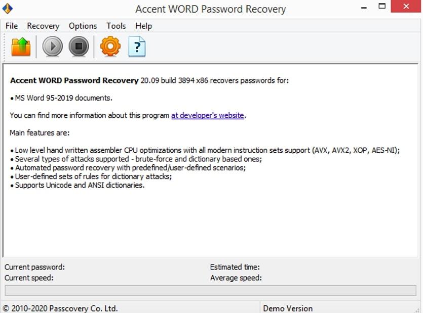 Word Password Recovery